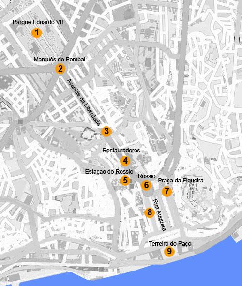 map-lisbon-avenida-da-liberdade-chiado-walk