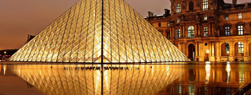 Louvre Pyramid at Night in Paris