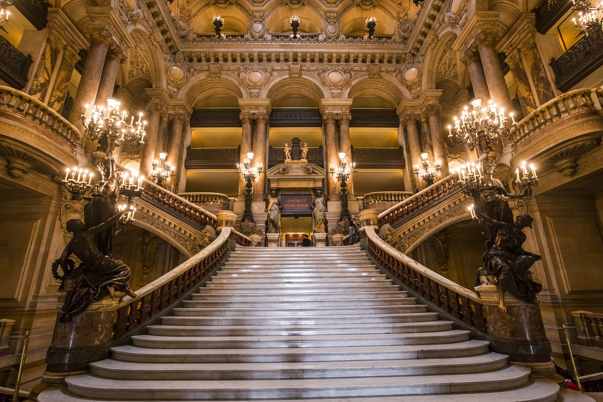 The Grand Staircase Of The Paris Opera With A Baby Carrier