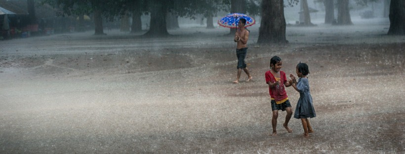 Rain at the Elephant Terrace in Angkor